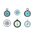 compass icon set flat style vector image