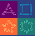 creative geometric style linear frames set vector image