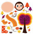 Cute autumn cartoon collection isolated on white vector image vector image