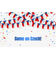 czech garland flag with confetti on transparent vector image