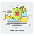 data security flat thin line concept vector image vector image
