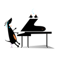 Dog a pianist vector image vector image