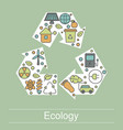 ecology with eco icons ecology with vector image