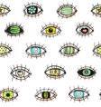 Eyes looking hand drawn seamless pattern vector image vector image