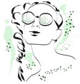 fashion sketch of a girl in glasses vector image