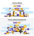 flat design concept banners - social media vector image vector image