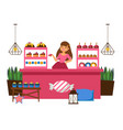 girl behind counter selling sweets vector image