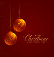 glowing floral christmas balls on red background vector image vector image