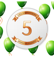 Golden number five years anniversary celebration vector image vector image