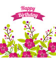 happy birthday celebration poster floral vector image vector image