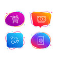 heart cash money and shopping cart icons set vector image vector image