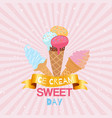ice creams waffle cones with assortment scoops vector image vector image