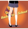 Japanese schoolgirl legs with bag and lettering vector image vector image