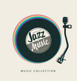 jazz music poster with vinyl record player and vector image