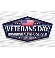 logo for veterans day vector image vector image
