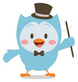 magician owl mascot collection stock vector image