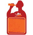 Man drinking beer sign vector image
