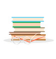 pile of literature open book and glasses closeup vector image vector image