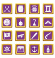 pirate icons set purple vector image vector image