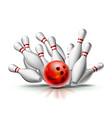 Red bowling ball crashing into pins