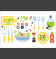 salad preparation set of utensils vector image