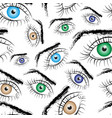 seamless pattern consisting of painted eyes vector image vector image