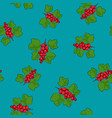 seamless pattern redcurrant on azure background vector image vector image
