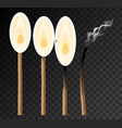 set matches with fire on black background vector image vector image