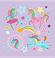 set of stickers - cute cartoon unicorns stars vector image