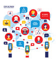 social network concept people avatars mobile vector image