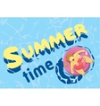 Summer time fat woman on mattress swim vector image