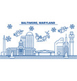 usa maryland baltimore winter city skyline vector image vector image