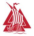 warship vikings drakkar ancient vector image vector image