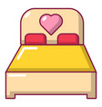wedding couple bed icon cartoon style vector image