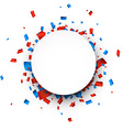 White round paper note over confetti vector image