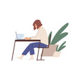 woman working with laptop and documents behind vector image