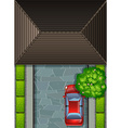 Garage rooftop and red car vector image