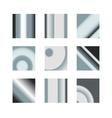 Set of silver gradients Metallic squares vector image
