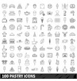 100 pastry icons set outline style vector image vector image