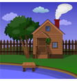 a wooden village sauna on the shore of the lake vector image vector image