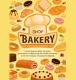 bakery shop cakes patisserie pastry desserts menu vector image vector image