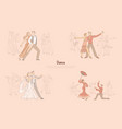 ballroom dancers performance graceful couples vector image