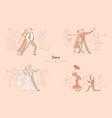 ballroom dancers performance graceful couples vector image vector image
