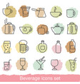 beverage icons set beverage icons set vector image vector image