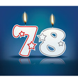 Birthday candle number 78 vector image vector image