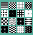 black and white geometrical patterns set vector image vector image