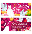 bride and groom wedding rings hearts gifts vector image vector image