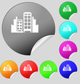 Buildings icon sign Set of eight multi colored vector image vector image