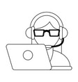 call center customer service black and white vector image vector image