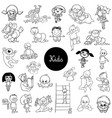 cartoon kids characters black and white set vector image vector image
